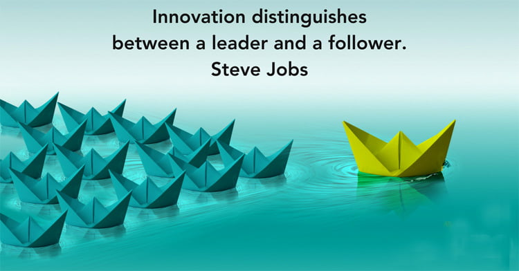 Innovation distinguishes between a leader and a follower steve jobs